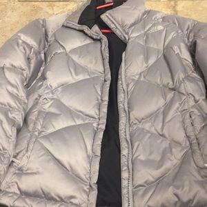 Silver north face puffer jacket